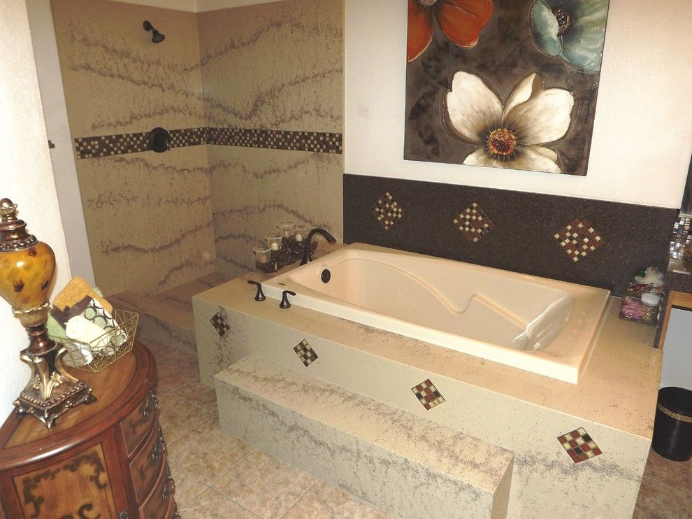 Granite Transformations for a  Bathroom with a Mosaic Accent and Granite Transformations Bathroom by Granite Transformations Las Vegas