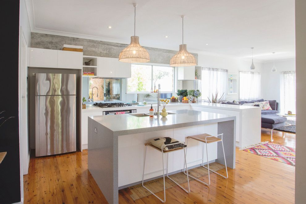 Granite Transformations for a Contemporary Kitchen with a Gray Walls and Kitchens by Granite Transformations