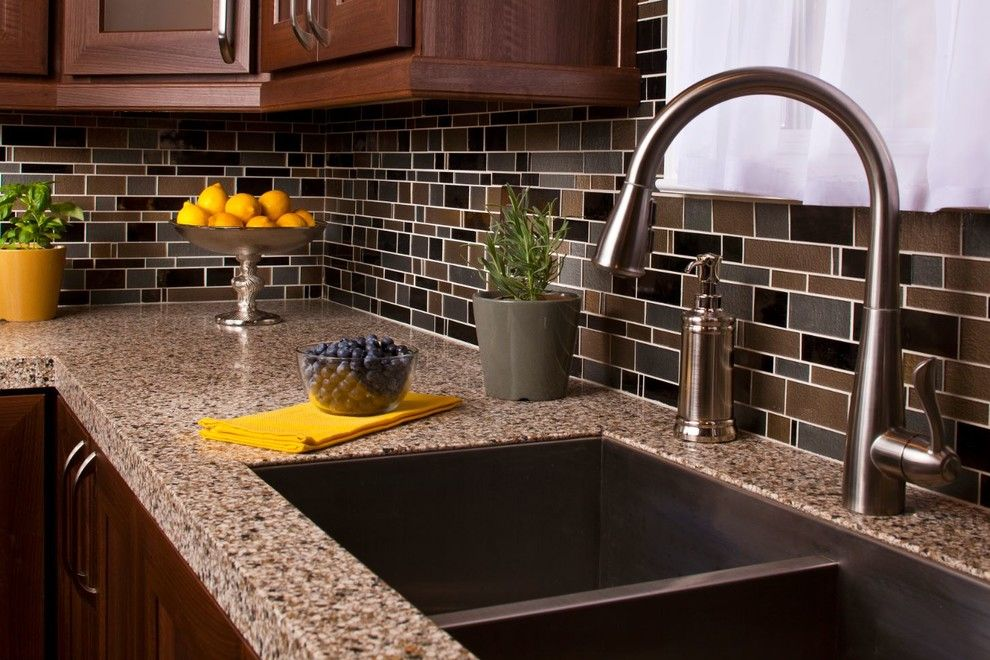 Granite Transformations for a Traditional Spaces with a Backsplash and Atlanta Kitchen by Granite Transformations