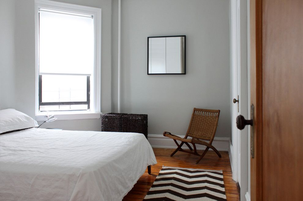 Gray Owl Benjamin Moore for a Modern Bedroom with a Chair and Brooklyn Apartment by Maletz Design