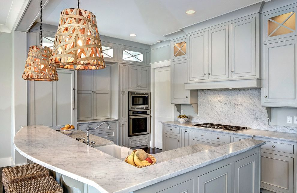 Gray Owl Benjamin Moore for a Traditional Kitchen with a Woven Pendant Light and Wild Dunes by Jill Frey Kitchen Design