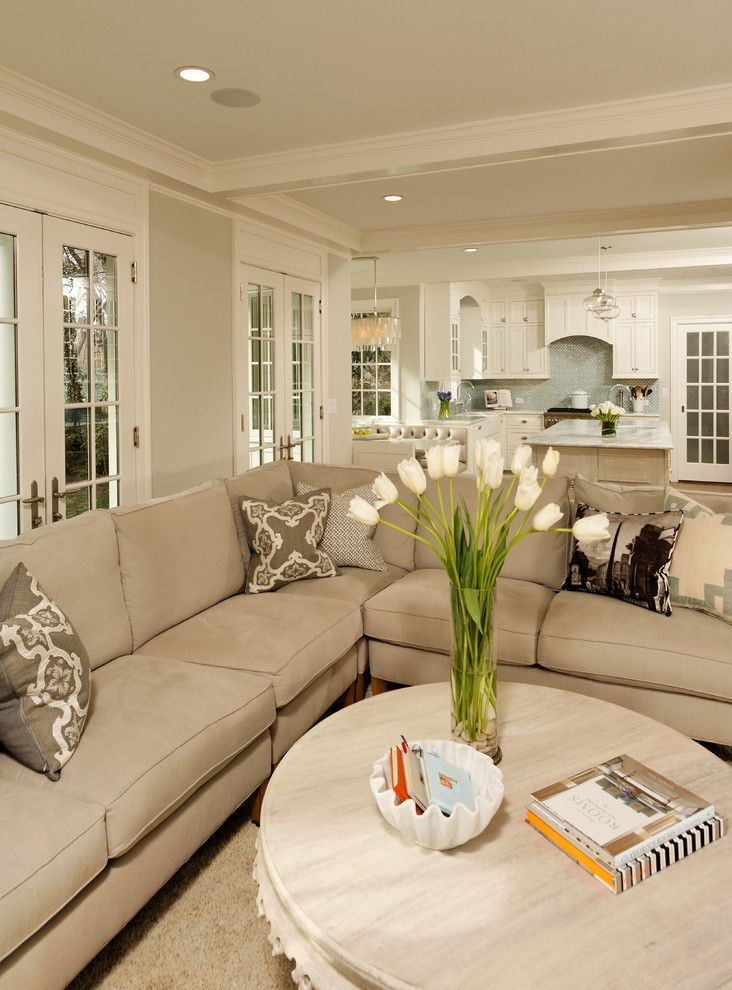 Gray Owl Benjamin Moore for a Traditional Living Room with a Beige Wall and Deluxe in Alexandria by Erin Hoopes