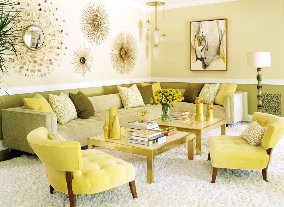 Green Demolitions for a Contemporary Living Room with a Gold Coffee Table and Contemporary Living Room by Jeffandrews design.com