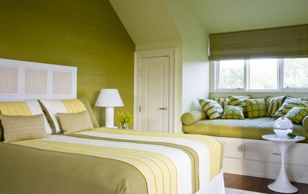 Green Demolitions for a Traditional Bedroom with a Throw Pillows and Beach House Bridgehampton by Amy Lau Design