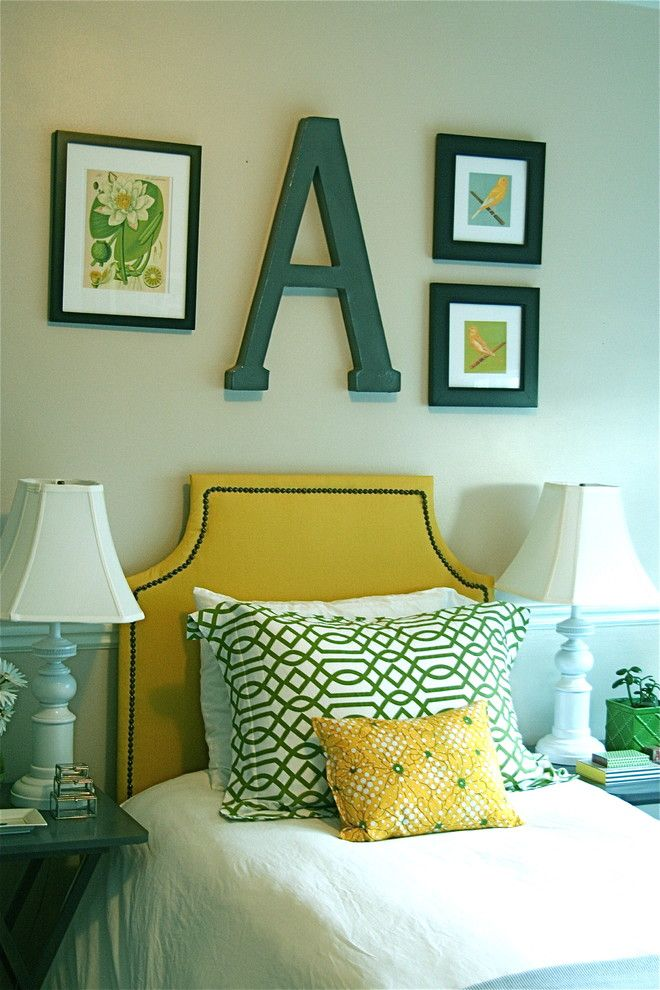 Green Demolitions for a Traditional Bedroom with a Wall Art and Yellow Girl's Bedroom by Caitlin Creer Interior Design