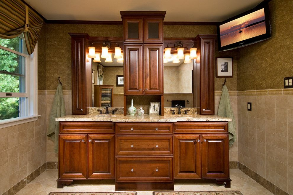 Greenfield Cabinets for a Traditional Bathroom with a Custom Vanity Ceramic Wall and Master Bath Renovation by Kitchen and Bath World, Inc