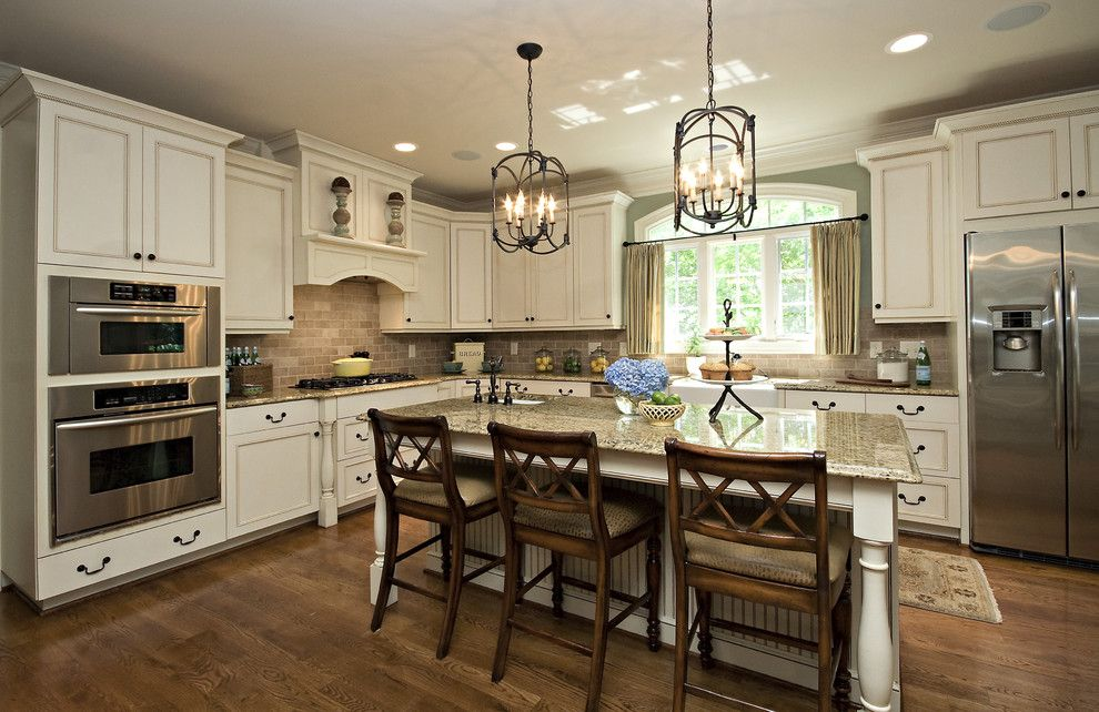 Greenfront Furniture for a Traditional Kitchen with a Blue Hydrangeas and Kitchen by Driggs Designs