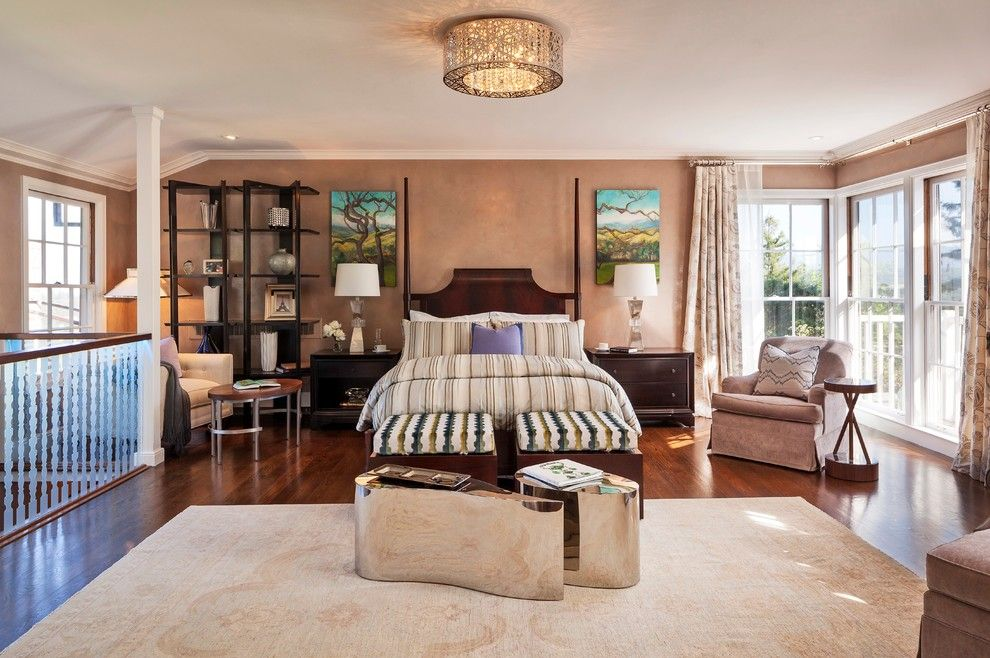 Greenfront Furniture for a Transitional Bedroom with a Bedroom Sitting Area and Master Bedroom by Mjm Interior Design