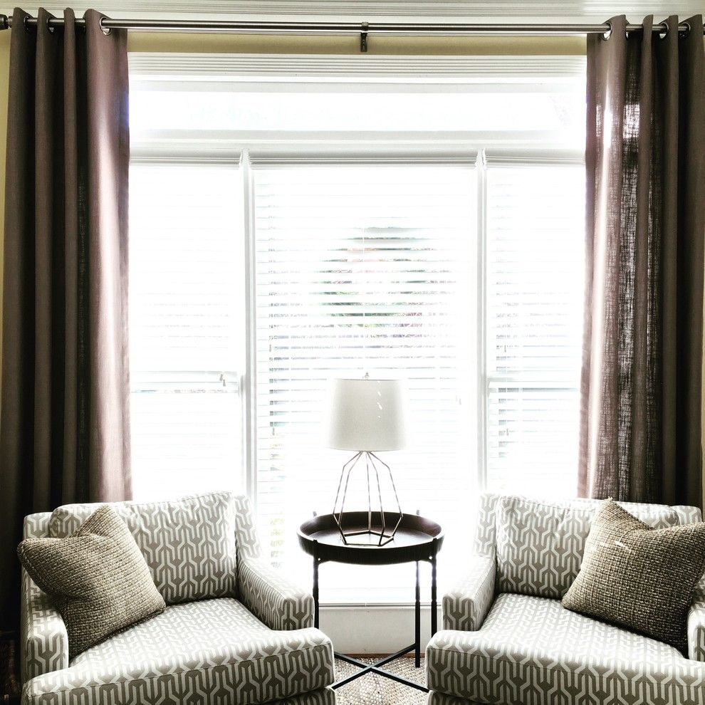 Greenhouse Fabrics for a Contemporary Home Office with a Linen Drapes and Modern and Classy, Johns Creek, Ga by Drapes & Decor