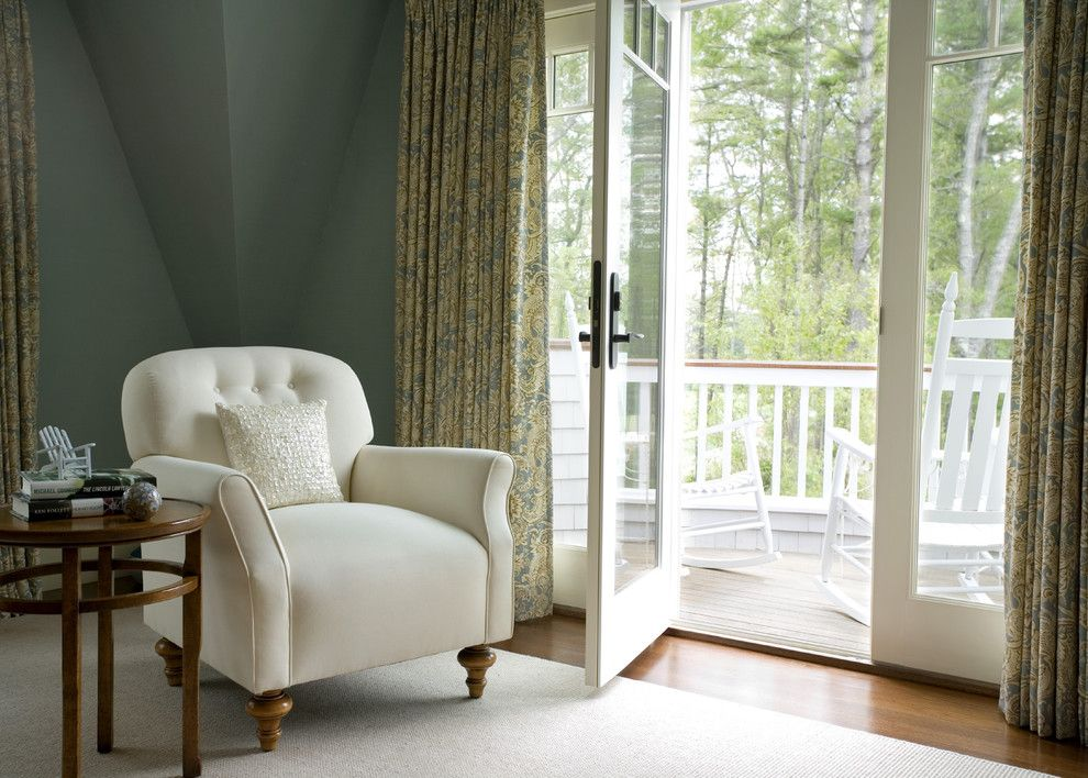 Greenhouse Fabrics for a Traditional Bedroom with a Reading Nook and Green Tea by Siemasko + Verbridge