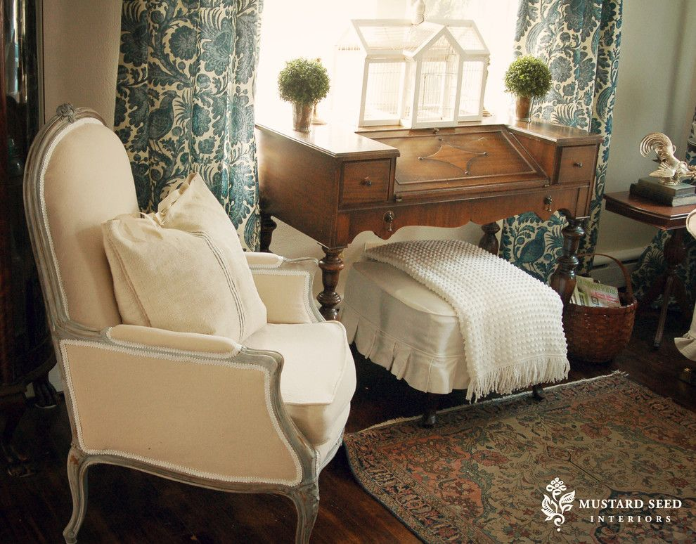 Greenhouse Fabrics for a Traditional Living Room with a Upholstered Footstool and Living Room by Mustard Seed Interiors