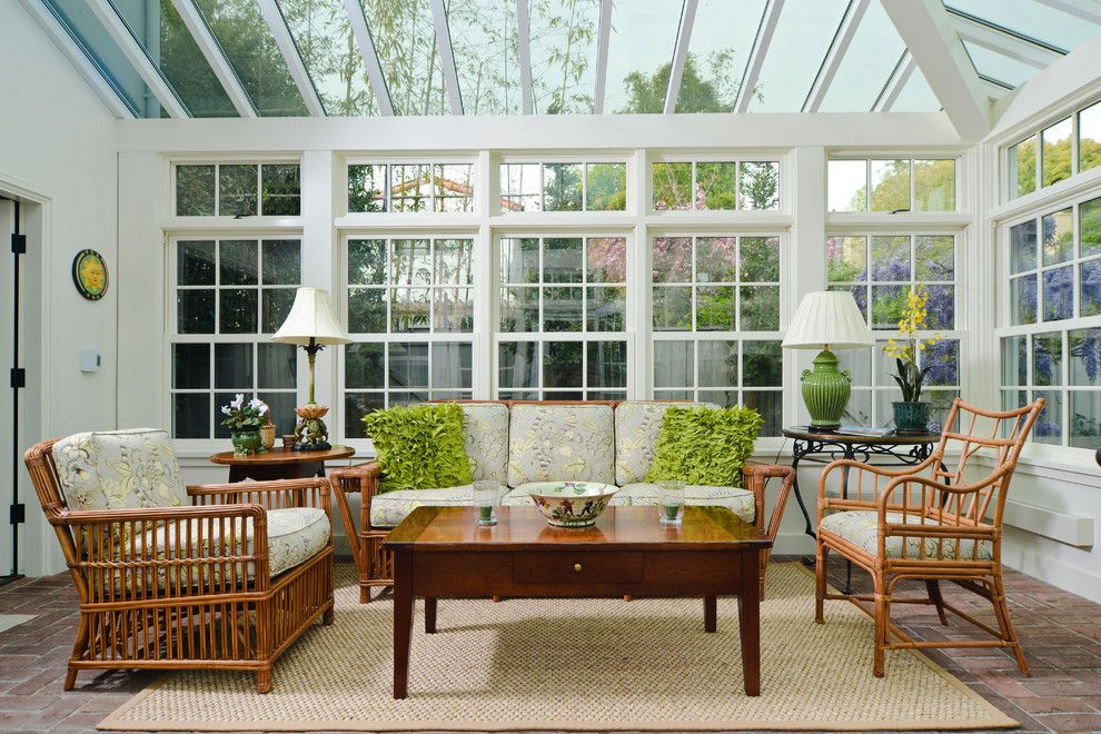 Greenhouse Fabrics for a Traditional Sunroom with a Glass Ceiling and Santa Rita Cottage by Fgy Architects