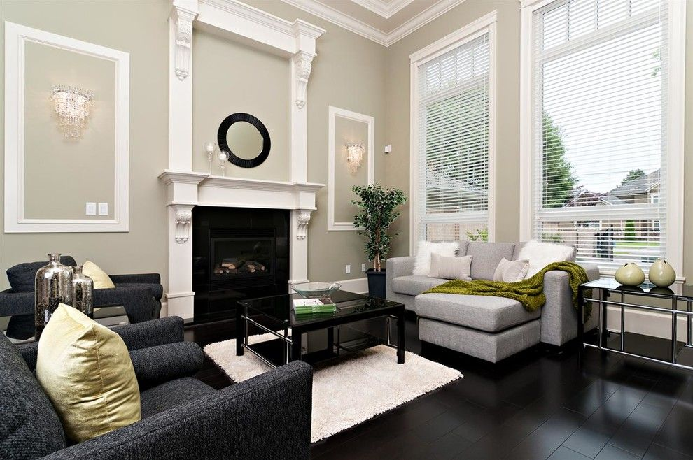 Greige Color for a Contemporary Living Room with a Gray Sectional and Semlin Drive by Positive Space Staging and Design Inc.