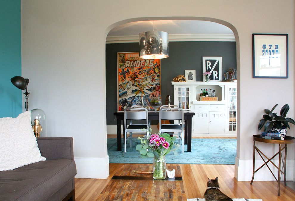 Greige Color for a Eclectic Dining Room with a High Baseboard and My Houzz: By Shannon Malone
