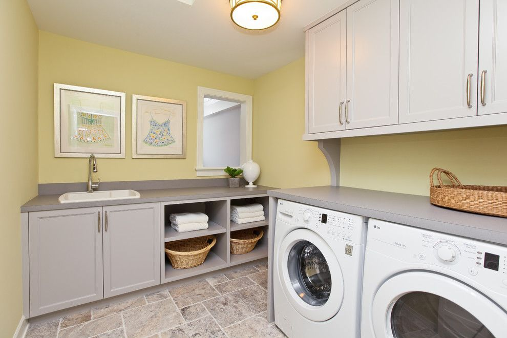 Greige Color for a Modern Laundry Room with a Storage Baskets and Modern Cottage Dream Home in Edina by Refined Llc