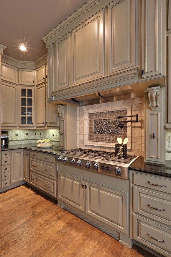 Greige Color for a Traditional Kitchen with a Wood Flooring and Teri Turan by Turan Designs, Inc.
