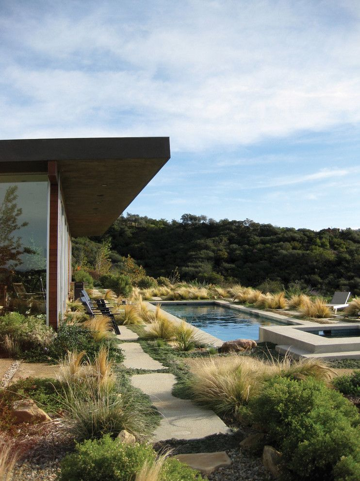 Griffin Pools for a Modern Landscape with a Roof Overhang and Topanga Canyon Residence by Gel: Griffin Enright Landscape
