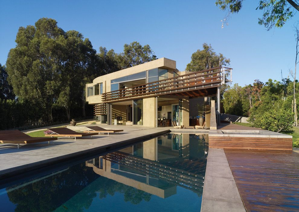 Griffin Pools for a Modern Pool with a Long Pool and Point Dume Residence by Gel: Griffin Enright Landscape
