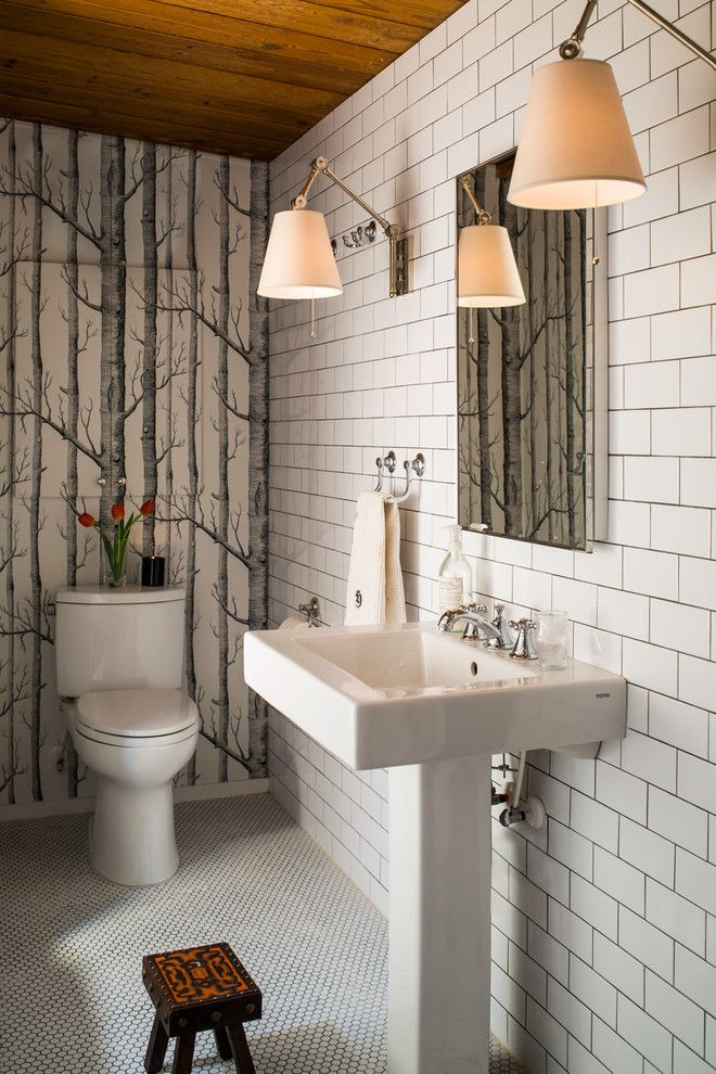 Grouting Tile for a Contemporary Powder Room with a Wall Mounted Towel Holder and in the Bath by Heather Garrett Design