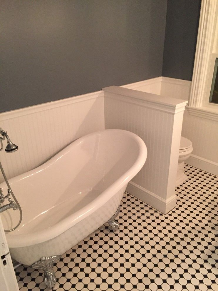 Grouting Tile for a Midcentury Bathroom with a Tile Floor and Sprecialty Porcelain Mosaics by Best Tile