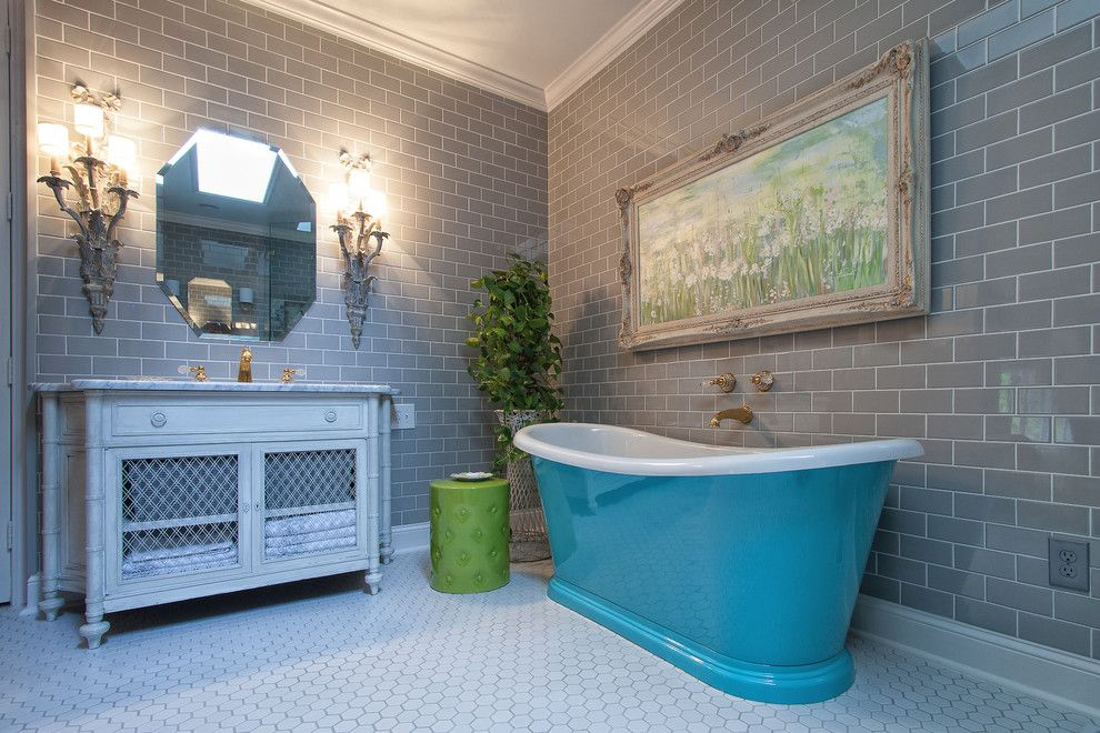 Grouting Tile for a Traditional Bathroom with a Subway Tile and Master Bath Retreat by Eco Choice Interiors by Jennifer Spears