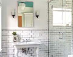 Grouting Tile for a Victorian Bathroom with a Bathroom Remodeler and Dave Fox Design Build Remodelers by Housetrends Magazine