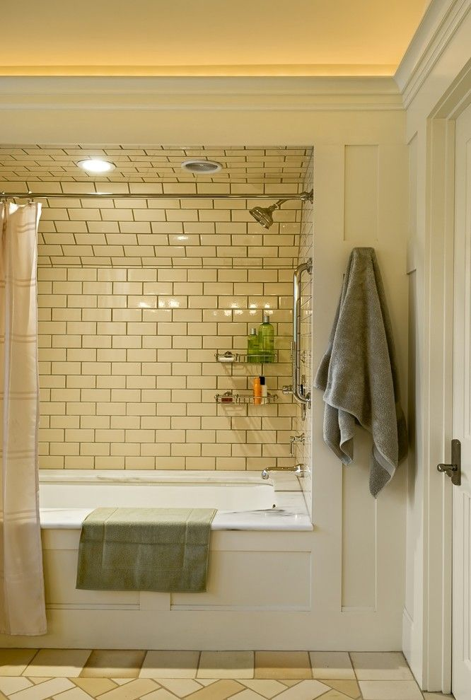 Grouting Tile for a Victorian Bathroom with a Shower Tub and Shingle Style Home in Hanover Nh by Smith & Vansant Architects Pc