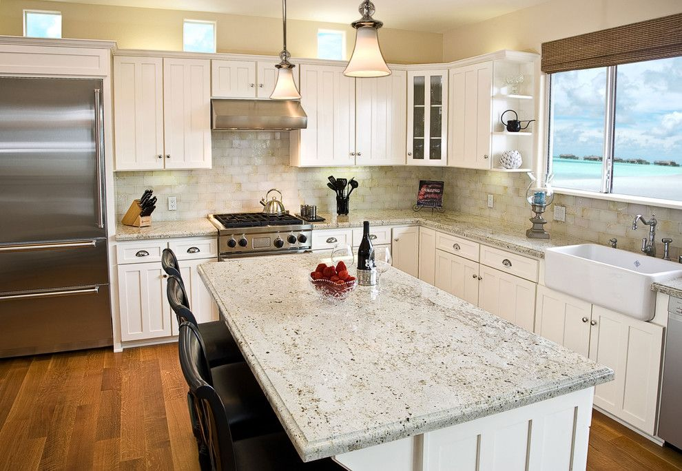 Gunnite for a Traditional Kitchen with a Kitchen Hardware and Marble Yard   Colonial Cream Granite by Marble Yard   Granite   Orange County, Anaheim