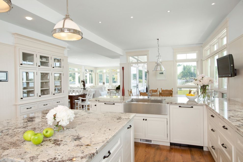 Gunnite for a Traditional Kitchen with a Stainless Steel Sink and Waterfront Estate by Jodi Foster Design + Planning