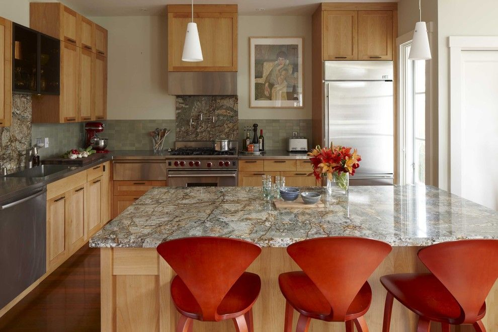 Gunnite for a Transitional Kitchen with a Kitchen Island and Kitchen by Andre Rothblatt Architecture