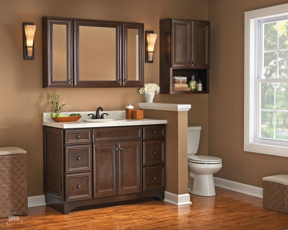 Haas Cabinets for a Contemporary Bathroom with a Bathroom and Dark Elegance Java Vanity | Haas Cabinet by Haas Cabinets