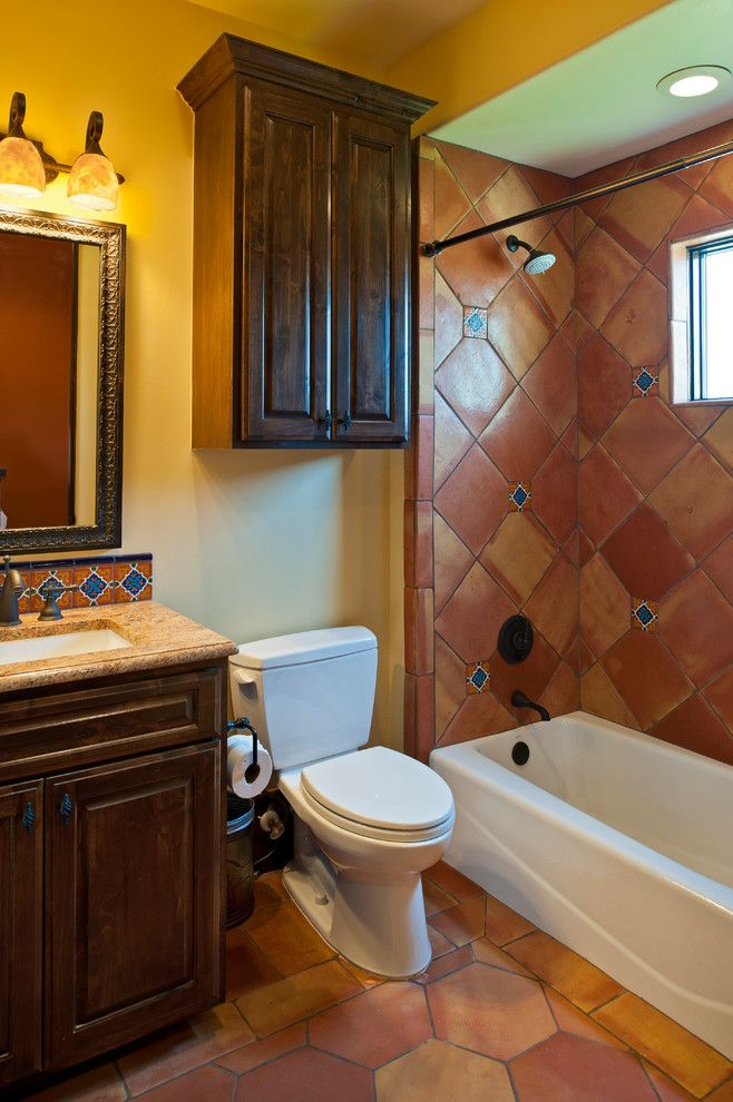 Hacienda Lighting for a Southwestern Bathroom with a Wall Mirror and Parade 2012  Hacienda by Bella Villa Design Studio