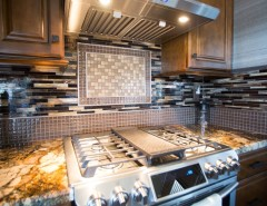 Hahn Appliance for a Transitional Kitchen with a Mosaic Tiles and Anaheim Hills Project by Kathleen Barlow Interiors