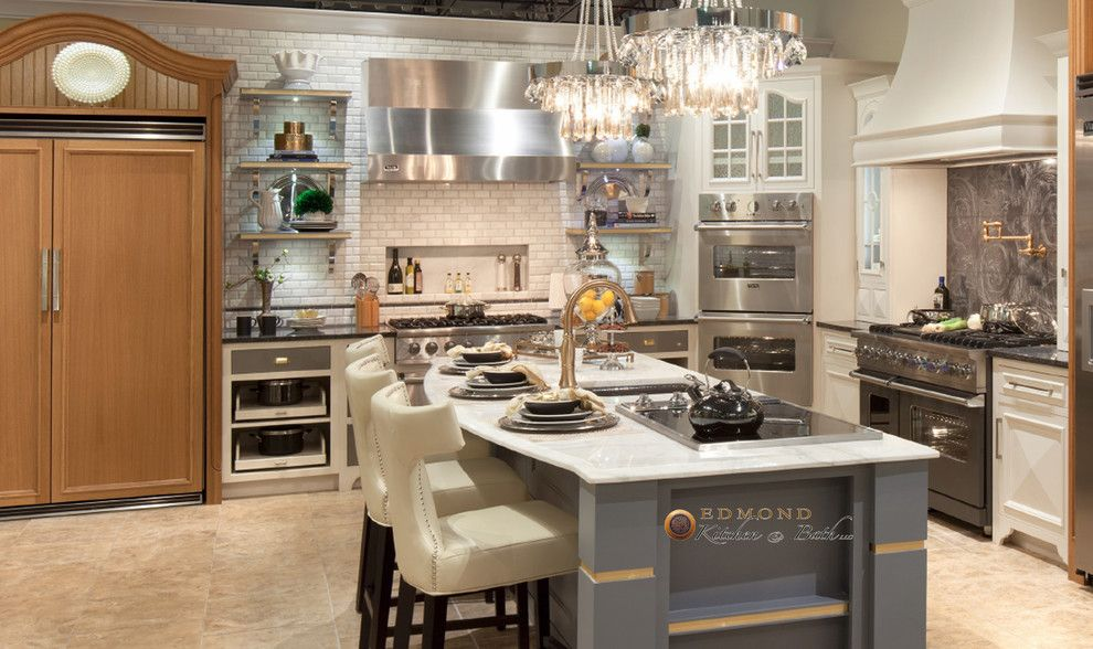 Hahn Appliances for a Transitional Kitchen with a Recessed Niche and Showroom at Hahn Appliance by Edmond Kitchen & Bath Llc