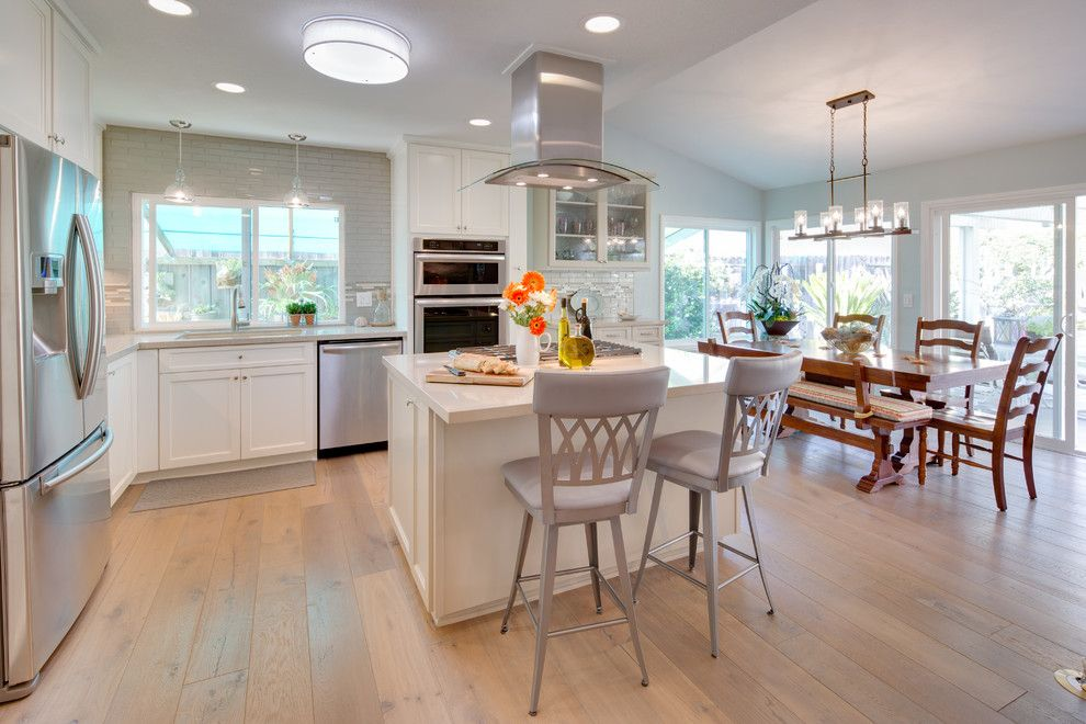 Hallmark Flooring for a Beach Style Kitchen with a Marble Mosaic Tile and Carlsbad Beach Cottage Contemporary by Karen Cole Designs