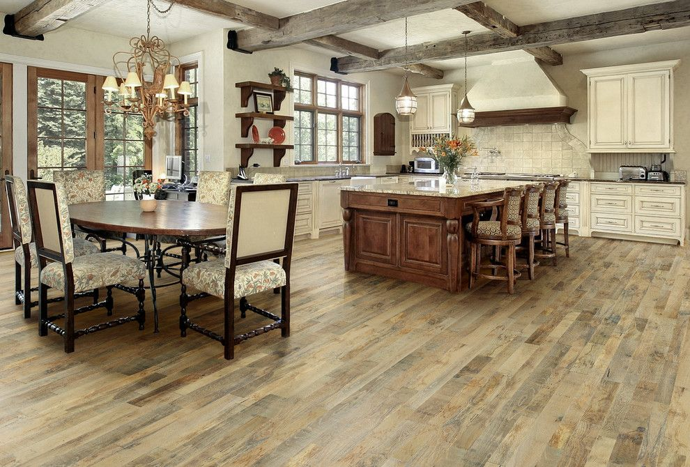 Hallmark Flooring for a Traditional Kitchen with a Rustic Modern and Rustic Modern Country Kitchen with Organic, Noni Soild Wood Floors. by Hallmark Floors