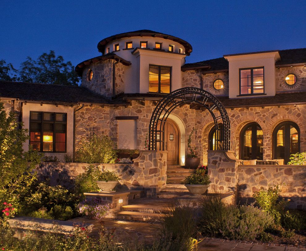 Halquist Stone for a Mediterranean Exterior with a Outdoor Lighting and Tuscan Exterior by Deep River Partners