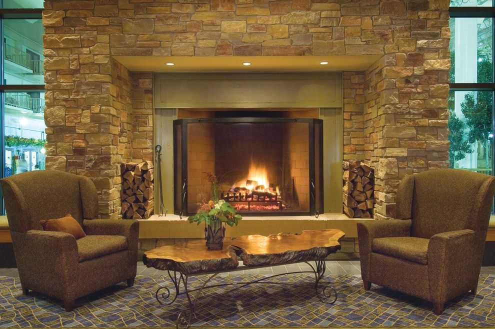Halquist Stone for a Rustic Living Room with a Coronado Stone and Chilton Full Color by Halquist Stone