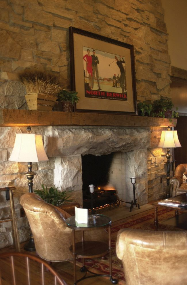 Halquist Stone for a Rustic Living Room with a Eldorado Stone and Kohler with Rockfaced Lannon by Halquist Stone