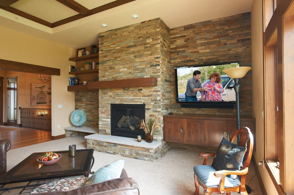 Halquist Stone for a Rustic Living Room with a Thin Cut and COPENHAGEN STAKLEDGE by HALQUIST STONE