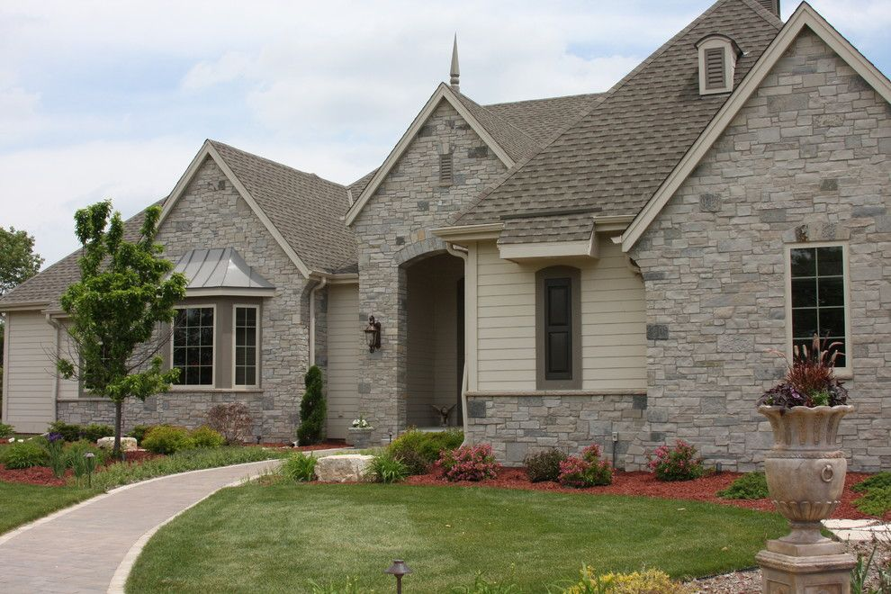 Halquist Stone for a Traditional Exterior with a Coronado Stone and Sterling Grey by Halquist Stone