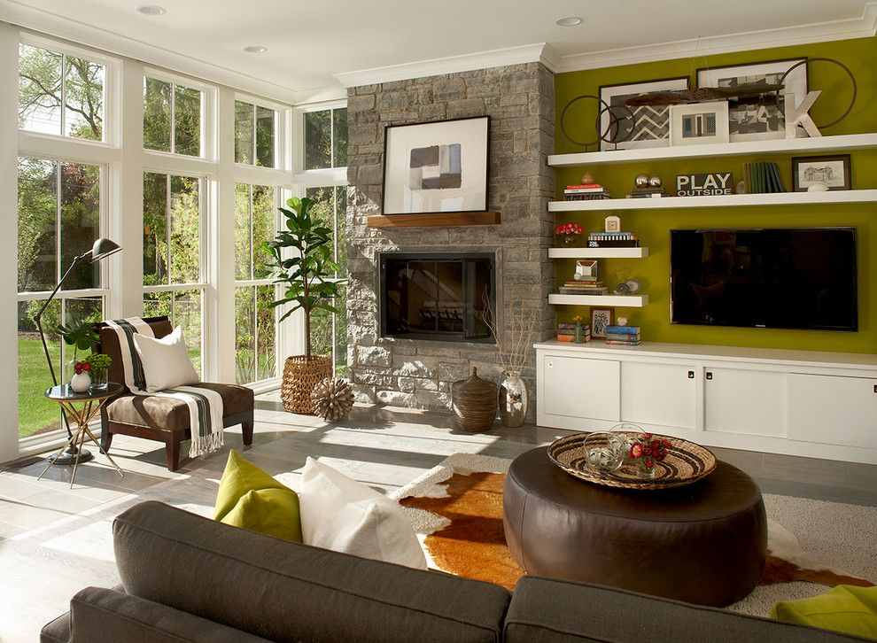 Hammary for a Farmhouse Living Room with a Floating Shelves and Modern Farm House   Elmhurst, Il by Charles Vincent George Architects, Inc.