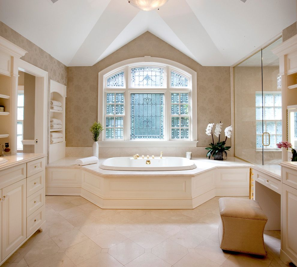 Hammary for a Traditional Bathroom with a Tub Surround and Greenwich Connecticut Estate by Diane Gerardi Design