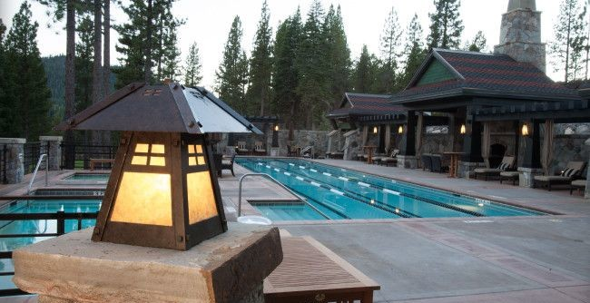 Hammerton Lighting for a Rustic Pool with a Rustic Mountain and Martis Camp Resort by Hammerton Lighting