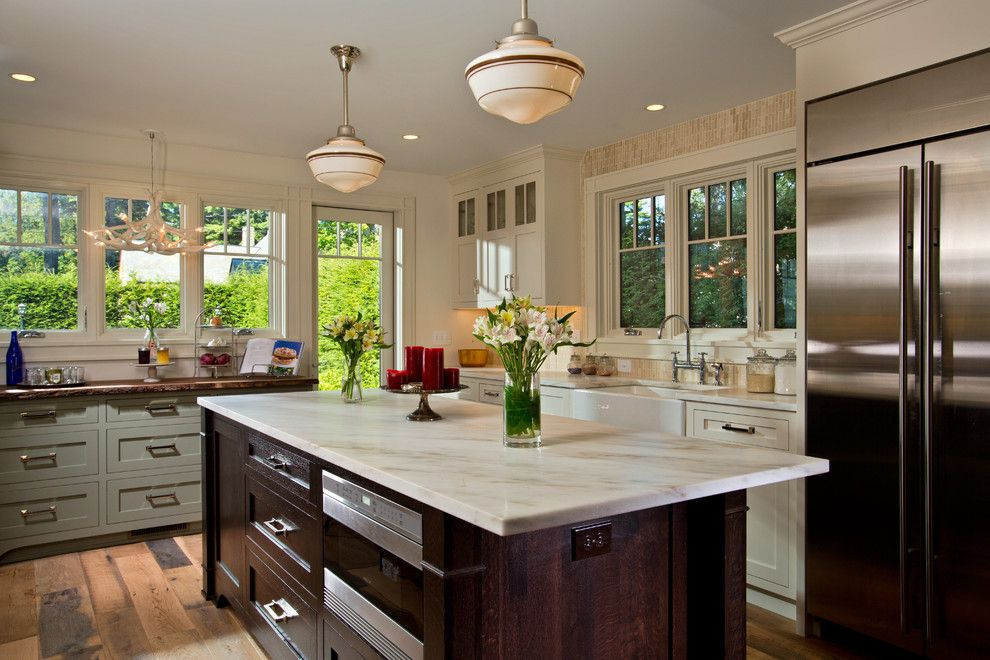 Hammerton Lighting for a Transitional Kitchen with a Green Cabinets and Lake Sacandaga Getaway by Teakwood Builders, Inc.