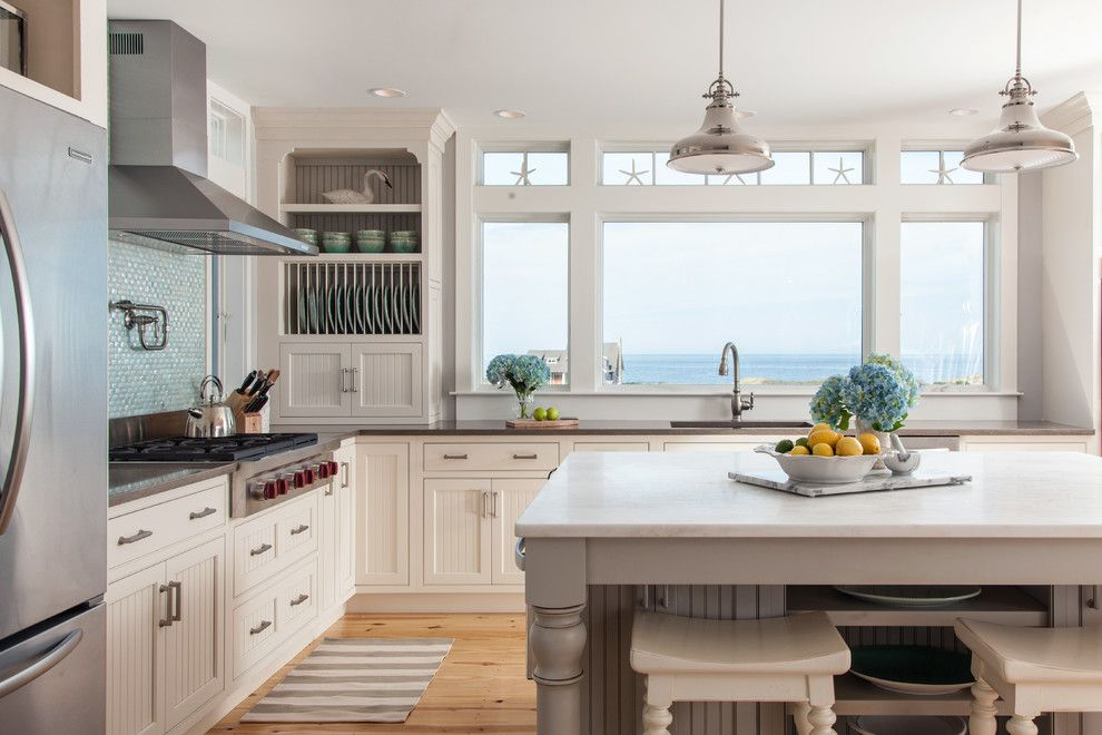 Handsome Cabinets for a Beach Style Kitchen with a White Bar Stools and Dennis Bayview Cape by Reef Cape Cod's Home Builder