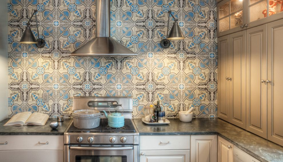 Handsome Cabinets for a Traditional Kitchen with a Accent Tiles and Kitchen Backsplash by Buckminster Green Llc
