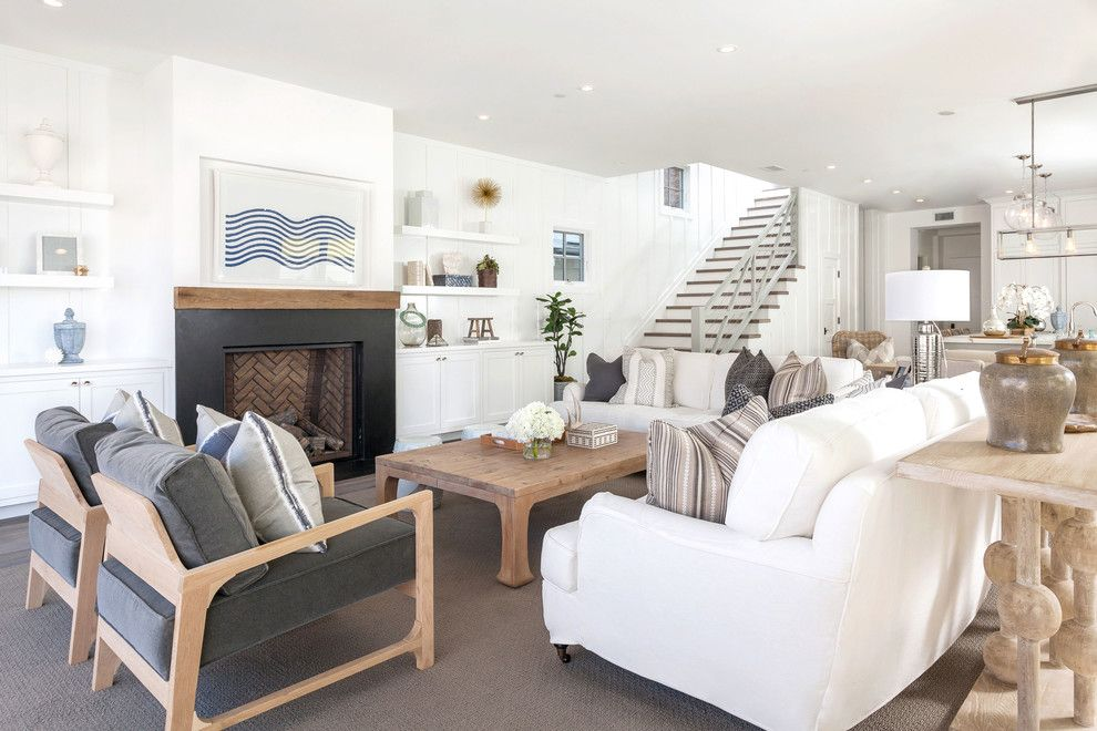 Hanks Furniture for a Beach Style Living Room with a White Couch and West Bay by Blackband Design