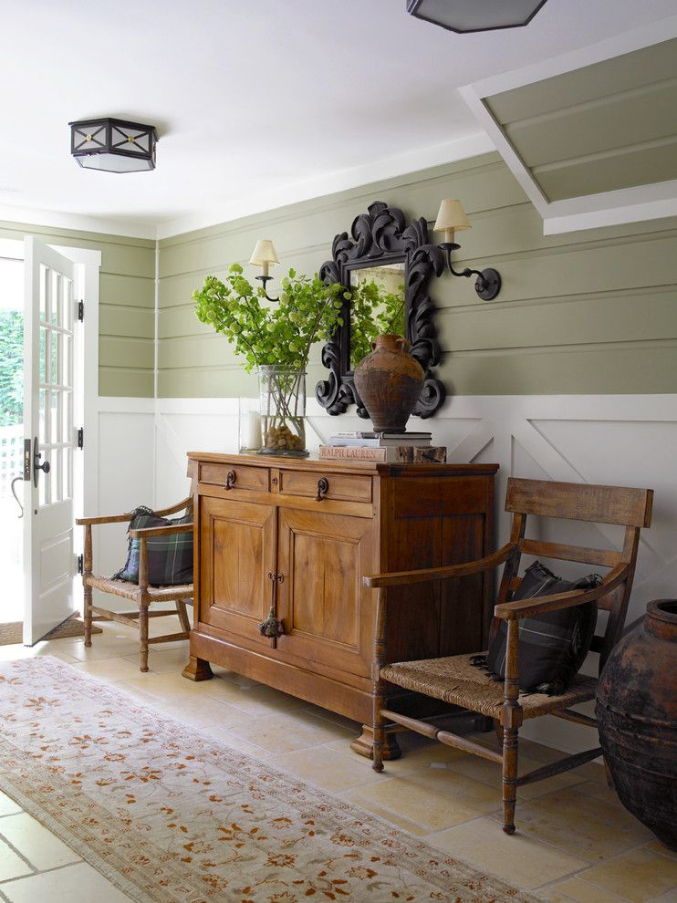 Hanks Furniture for a Farmhouse Entry with a Ralph Lauren Pillows and Acorn Cottage by Susan Anthony Interiors