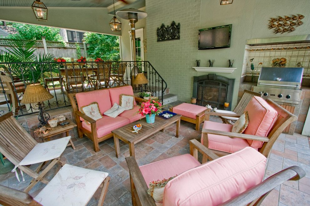 Hanks Furniture for a Traditional Patio with a Metal Railing and Outdoor Padio and Living Room by John Hanks Construction